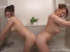 It's bath time for these two horny, hot Japanese lesbians