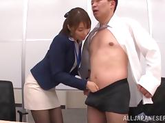 Mini-skirt clad Asian chick with big tits enjoying an awesome threesome
