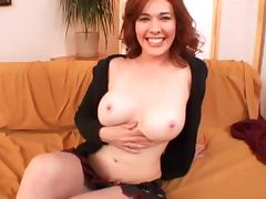 Bubbly redhead with big tits gets her hairy pussy drilled hardcore