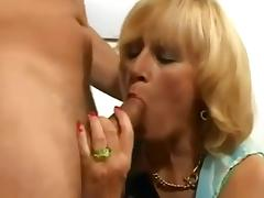Hairy blonde mature with saggy tits fucked
