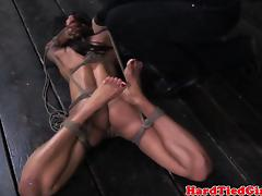 Frogtied ebony sub cant escape her dom