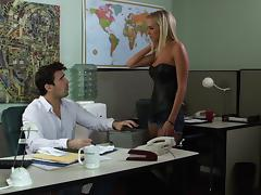 Charming office girl with big tits swallows cum after smashed Hardcore