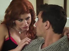 Pretty redhead babes with hot ass giving her gentleman handjob in close up shoot