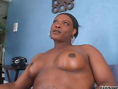 Black Shemale Fondles Tits Before Jerking Off Cock And Squirting