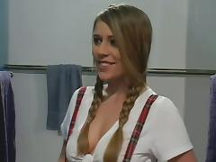 A naughty coed gets fucked hard by her teacher in the locker room