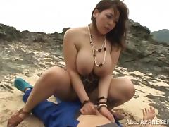 tit fucking on the rocks
