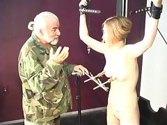 Hard nipple abuse for this cute young blonde in Master Len's sex dungeon