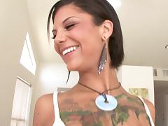 Anal Bonnie Rotten gets pounding after sucking dick in interracial porno