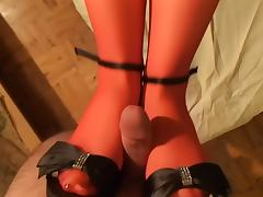 holloween red stockings footjob!