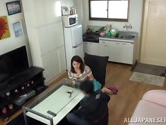 Horny Japanese solo model fondles her big tits then fingers her pussy