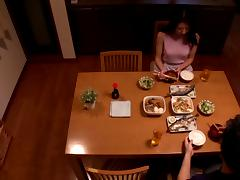 Asian babe in miniskirt getting her cunt fondled in the kitchen