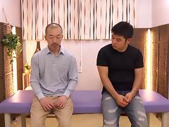 Hardcore MMF reality threesome scene with Japanese masseuse