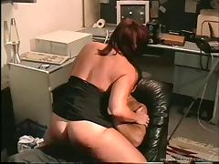 Busty MILF gets fucked hardcore after face fucking in the office