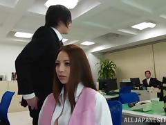 Slutty Japanese office girl moans while getting slammed hardcore