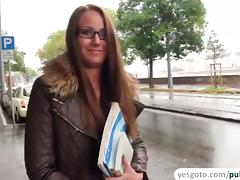 Hungarian chick gets fucked by a stranger and rewards her with a messy cum