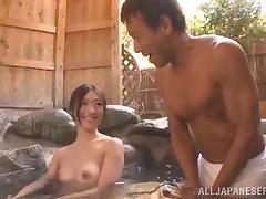 Japanese AV model in the pool outdoor kissing and rubbing clit with vibrator