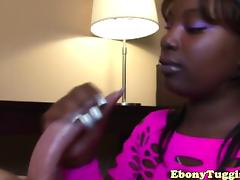 Curvy nubian tugging dick