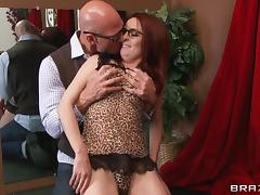 Redhead dame getting nasty facial cumshot after being drilled hardcore