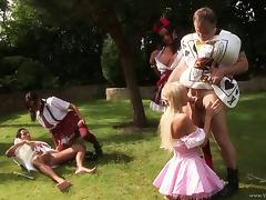 Hot outdoors group sex action along babes in parody outfits getting bonked