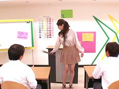 Japanese teacher Hina Akiyoshi has ardent sex with her colleague
