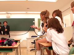 Two Japanese teachers get dominated and fucked by college girls