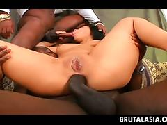 Two big dicks fuck and Asian babe double penetration style