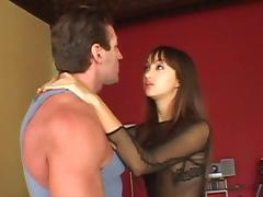 Pretty Asian girl gives a blowjob and swallows a cumshot