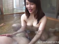 Asian cowgirl with natural tits screaming while getting screwed hardcore in pov pool shoot