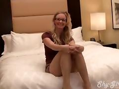 Diminutive blond creampied in porn debut