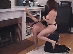 A dominate female smothers her man before saddling him up