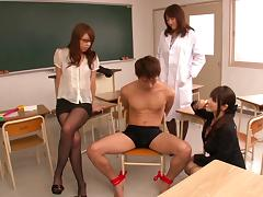 Horny cowgirl in pantyhose riding her teacher massive cock hardcore in group sex