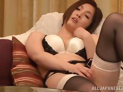 Radiant Japanese pornstar in hot lingerie fingering her pussy before getting screwed hardcore