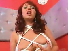 Fat redhead MILF Cherry plays with a big dildo
