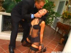 Endearing dame screaming as her anal is drilled hardcore BDSM sex