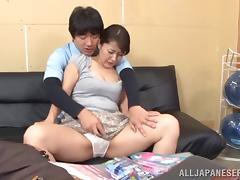 Delightful Asian milf gets her pussy shaved then slammed hardcore