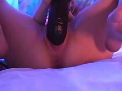 Dirty girl fucks huge dildo