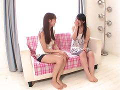 Hardcore scissoring scene with two sweet Japanese lesbians