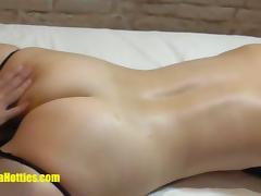 Shy blonde casting girl gets massaged and fingered