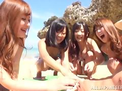 sexy japanese babes have fun on the beach