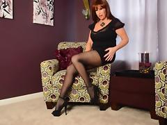 SAM SHOWS HER STUNNING PUSSY IN OPEN CROTCH BLACK TIGHTS