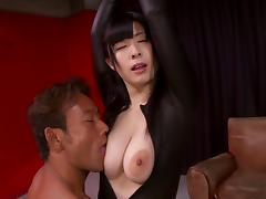 A petite Asian babe in leather enjoys a big cock deep inside her