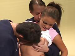 Big tits cheerleader coed kelly double penetration fun