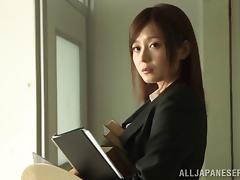 A sexy Japanese businesswoman stays late and fucks her boss