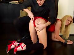 He spanks Hannah Harper's ass then fucks her from behind