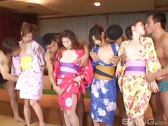 A wild Asian orgy breaks out as geishas get nailed