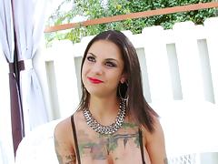 Tattooed pornstar in fishnet lingerie gets fucked hardcore anal