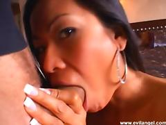 Tattooed Asian chick with big tits enjoying an interracial foursome