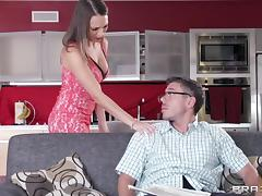 Lily Love uses her tits, hands and tight pussy to relax this guy