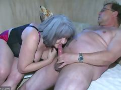 A granny and an old man fuck a hot younger chick in a threesome