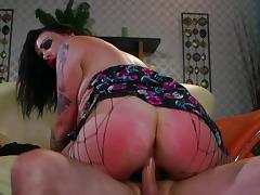 Curvy bdsm fetish punk in fishnet lingerie enjoys getting spanked while riding a cock doggy style
